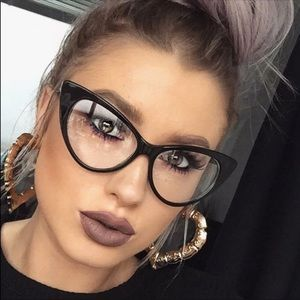 🖤BLACK🖤WITH CLEAR LENSES FASHION CAT EYE GLASSES